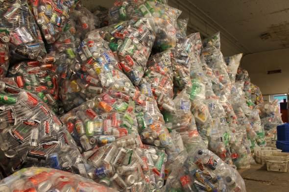 Pop cans, water bottles, milk cartons,