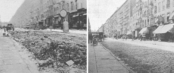 A street under Tammany control and the same street after Waring took over. Image credit: Bartleby.com