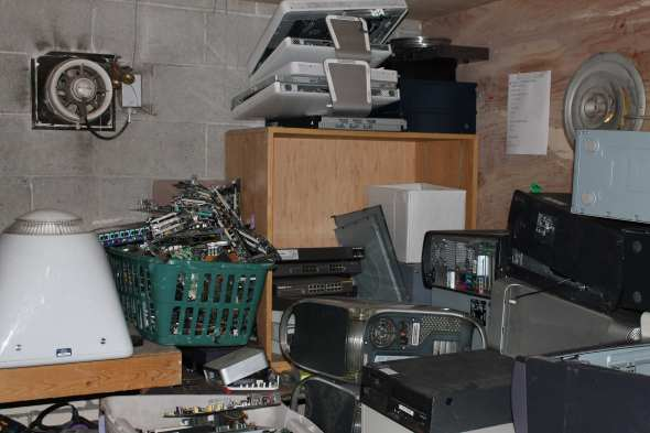 In the back of The Hackery we found piles of electronics.