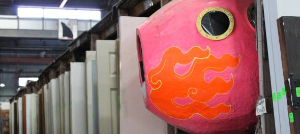 Organizationally, it makes perfect sense to have this pink fish in the aisle with the doors.