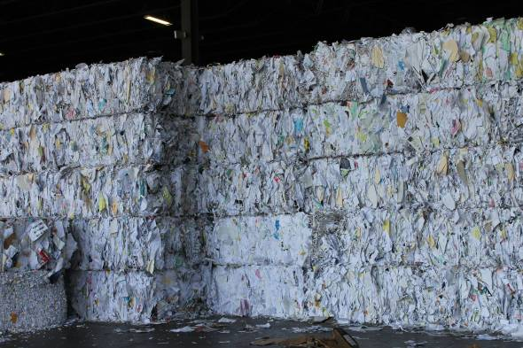 Stacked Bales of Mixed Paper
