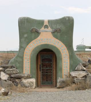 An impressive doorway to one of the earthships.