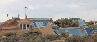Walking around One World Community, you see these fantastic rooflines arching out of the desert. Because the earthships are usually half buried in the ground, you don't really see them until you are pretty close; then they surprise you with their size.
