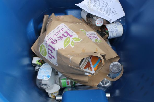 Single stream recycling: everything goes in one bin.