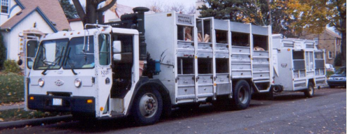 A multi-stream recycling truck, designed to keep materials separate. Image credit: City of Minneapolis.