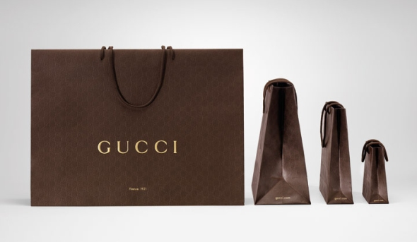"Gucci has released a bag that it claims is 100% recyclable; ""A bold new image of luxury that is sensitive to the environment."" Image retrieved from: http://retaildesignblog.net/category/eco/page/5/"