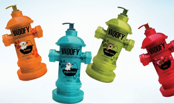 "Woofy dog shampoo claims to be ""born from the playfulness of being and having a dog."" They also claim their plastic packaging is 100% recyclable. Image source: http://www.packagingoftheworld.com/2013/05/woofy.html"