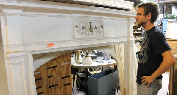 I wanted to buy this mantel, but Margaret convinced me it would be difficult to fit on top of the car.