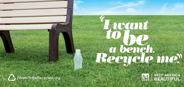An image from Keep America Beautiful's new 'I want to be recycled' campaign.