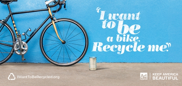 Another image from KAB's 'I want to be recycled' campaign.
