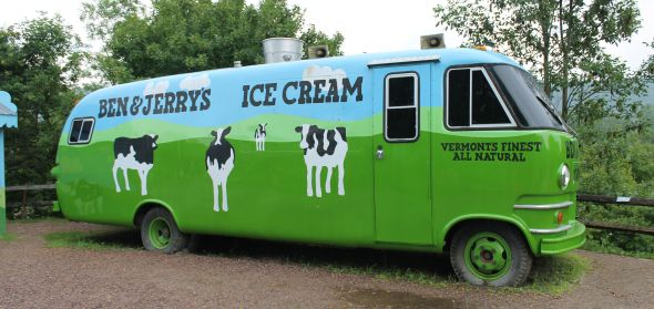 This is the special Ben and Jerry's bus that we did not get to drive.
