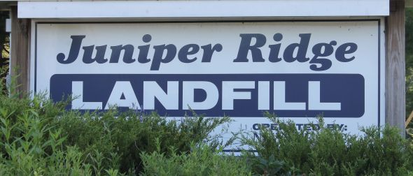 The Juniper Ridge Landfill, owned by the State of Maine and operated by NEWSME, LLC (a subsidiary of Casella), had a very nice sign.