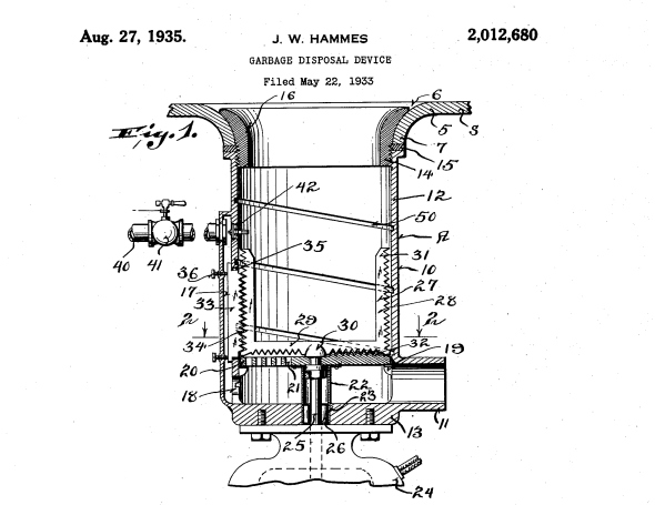 J. w. HAMMES GARBAGE DISPOSAL DEVICE z/b/izzilz'fiam a5 Filed May 22, 1935 Patented Aug. 27, 1935 UNITED STATES PATENT OFFICE GARBAGE DISPOSAL DEVICE John W. Hammes, Racine, Wis.