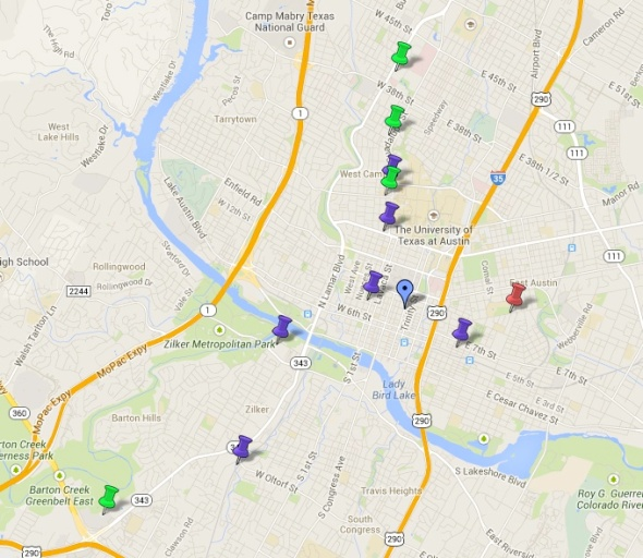 Here's a map of some of the dumpsters in Austin, TX. Useful to cut down on costs during our next visit there... this website is the cheap traveler's paradise!